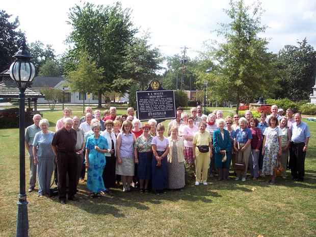 Singers gather around the B. F. White historical marker in Hamilton, October 1, 2005. Photo by Robert Chambless.