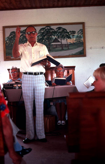 The late M. Lane Albritton, moderator (for many years) of the Bethlehem singing, leading in August 1979. Photograph by Peggy A. Bulger, State Archives of Florida, Florida Memory, http://floridamemory.com/items/show/119861.