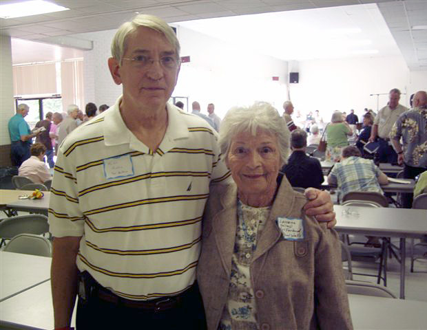 Mike Hinton, grandson of Lorraine's early Sacred Harp instructor, with Lorraine Miles McFarland at the 2010 East Texas Sacred Harp Convention in Henderson, Texas.