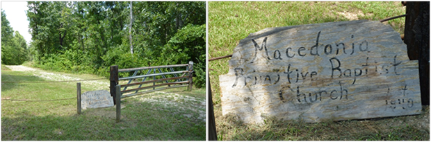 Hand painted sign for Macedonia Primitive Baptist Church