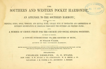 Title page of the Southern and Western Pocket Harmonist, 1860 edition.