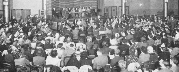 Paine Denson leads during a session presented by Irving Wolfe at the 1948 Music Educators National Conference in Detroit, Michigan.